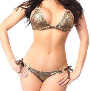 Bronze Glitter Rhinestone Pucker Back Bikini